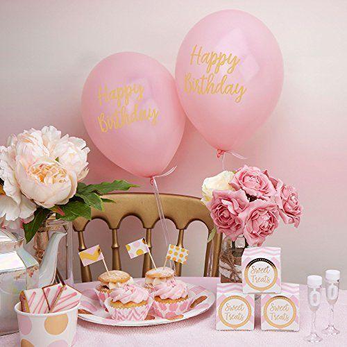 photo Wallpaper of Neviti-Neviti Muster Funktioniert–Luftballons Happy Birthday Pink, 8Stück-Rose