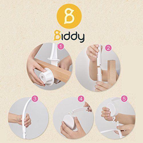 photo Wallpaper of Biddy-Mobile Halterung Mit Spieluhr Für Babybett Und Kinderbett I Einschlafhilfe-Weiß