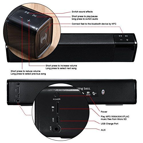 photo Wallpaper of ELEGIANT-Mobiler Lautsprecher, ELEGIANT 20W Bluetooth 4.1 Wireless Dual Lautsprecher Soundbar-Schwarz