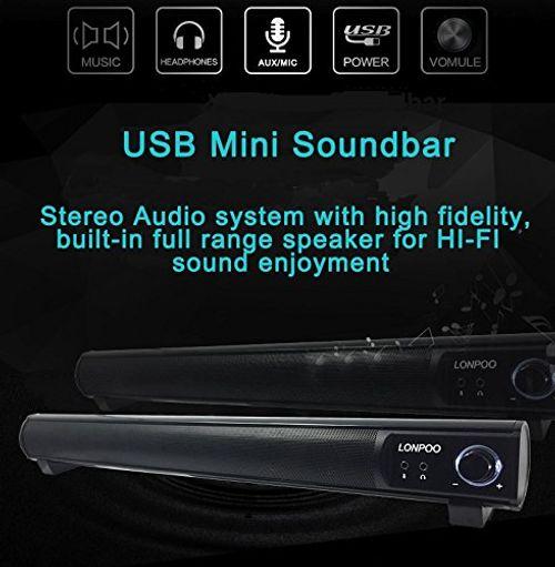 photo Wallpaper of LONPOO-LONPOO 10W USB Schlanke Soundbar Lautsprecher Mit Mikrofon Und Kopfhörer Jack-schwarz