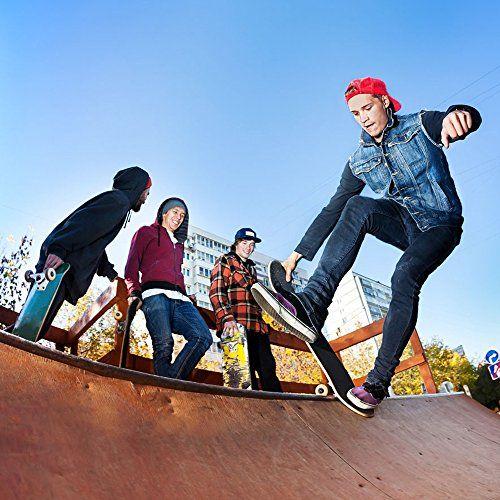 photo Wallpaper of Baytter-BAYTTER® Skateboard Komplett Board Funboard 79x20cm Mit 7 Lagigem Ahornholz Und ABEC 11 Kugellager-holzfarbig