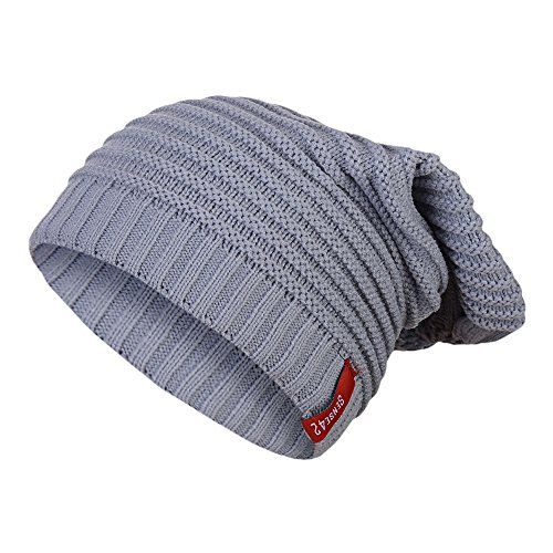 photo Wallpaper of Sense42-Sense42 Long Beanie Unisex Strickmütze Lange Mütze Streifen Wintermütze One Size-Hellgrau