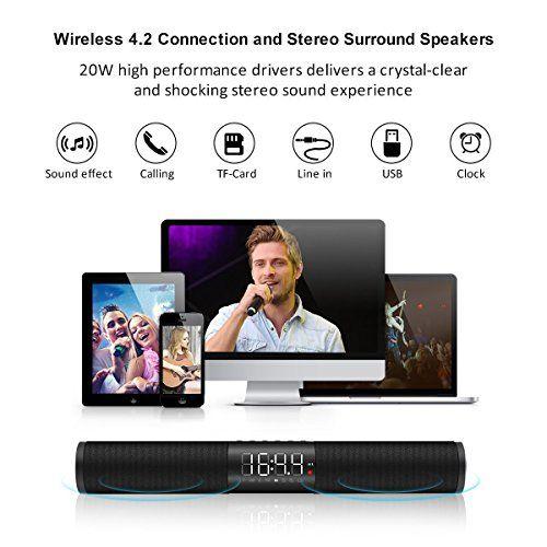 photo Wallpaper of ELEGIANT-Bluetooth Lautsprecher, ELEGIANT Bluetooth 4.2 Stereo Bass Lautsprecher Wireless Kabellose 2x10W Büro Party Musik-