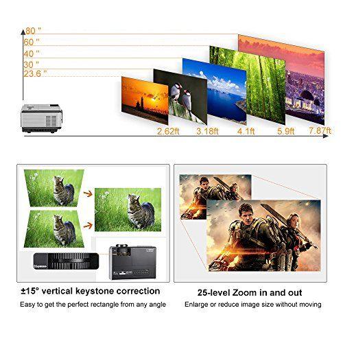 photo Wallpaper of EUG-Mini LED Beamer Tragbar LCD Videoprojektor Heimkino 1500 Lumen HDMI-1500 lumens Mini Movie Gaming Projector