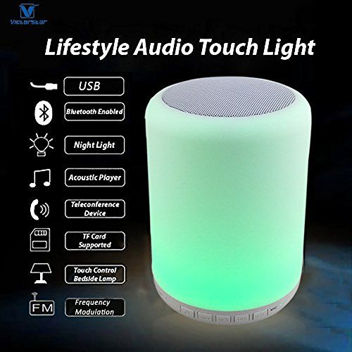 photo Wallpaper of Victorstar-Bluetooth Lautsprecher Mit LED Licht   VICTORSTAR Y02W Touch Tischlicht / Nachtlicht,-weiß