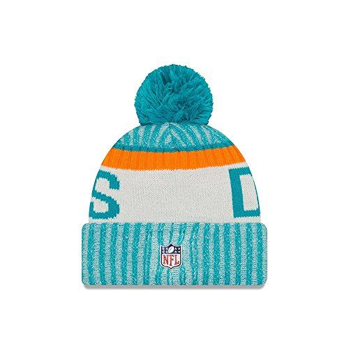 photo Wallpaper of New Era-New Era Herren NFL Sideline Bobble Knit Miami Dolphins Beanie,-blau