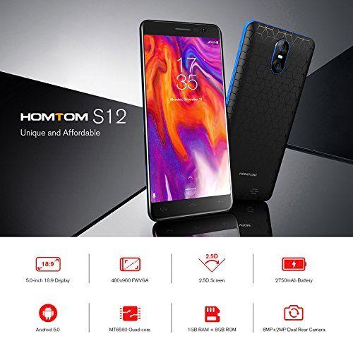 photo Wallpaper of FPVRC-HOMTOM S12 (2018) 3G Smartphone Billig Ohne Vertrag 5,0 Zoll 18:-S12(Schwarz&Blau)