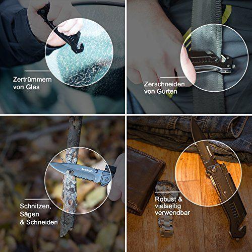 photo Wallpaper of BearCraft-BearCraft Klappmesser | Outdoor Survival Taschenmesser Mit Wellenschliff | Rettungsmesser Mit Mini-
