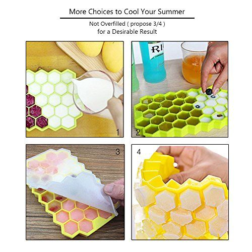 photo Wallpaper of HoneyHolly-HoneyHolly (4er Pack) Food Grade Silicone Hexagon Ice Cube Trays With Lid For Idea-Weiß & Grün & Gelb & Lila