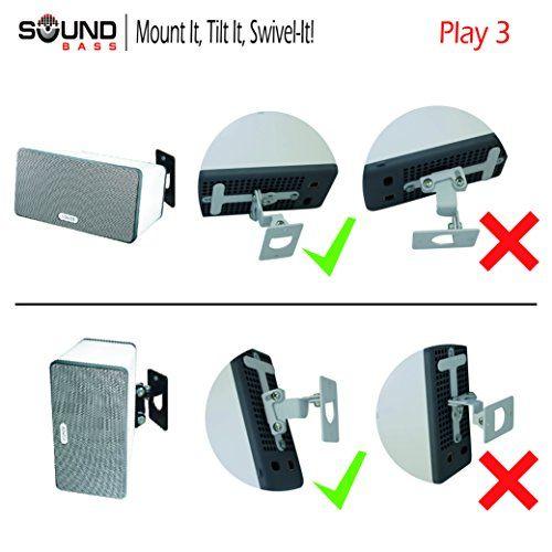 photo Wallpaper of Soundbass-SONOS PLAY 3 Wandbefestigung, Anpassungsfähiger Drehpunkt & Neigungsmechanismus, Einzelhalterung Für Play:3 Lautsprecher Mit Befestigungszubehör,-Weiß