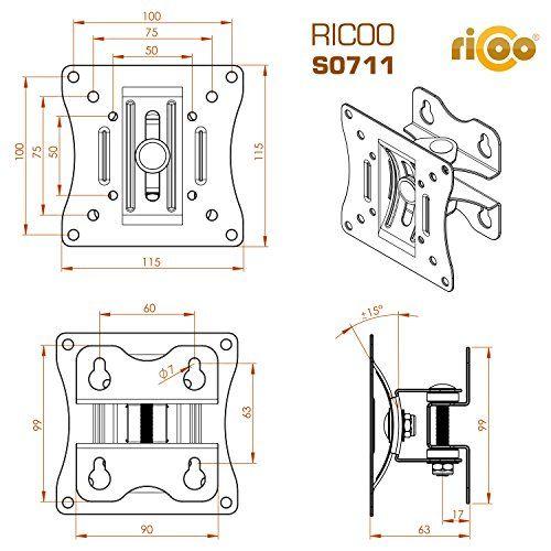 photo Wallpaper of RICOO-RICOO Monitorhalterung Wandhalterung Schwenkbar Neigbar S0711 Monitor Schwenkarm Bildschirmhalterung Wand Halterung Curved-S0711 | VESA 100x100 | Schwarz