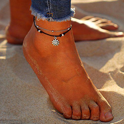 photo Wallpaper of Yesiidor-Yesiidor Fußkettche Damen Silber Kugel Fußketten Sonne Muster Fuß Ketten-Silber