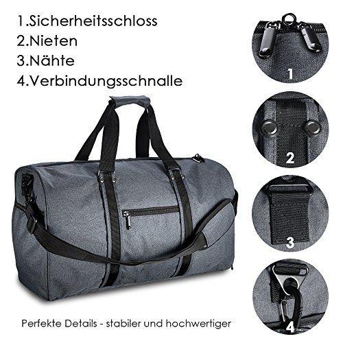 photo Wallpaper of LOFTer-LOFTer Elegante Sporttasche, 38L Reisetasche Mit Schultergurt Fitnesstasche Trainingstasche Große Kapazität Handgepäck-Dunkelgrau