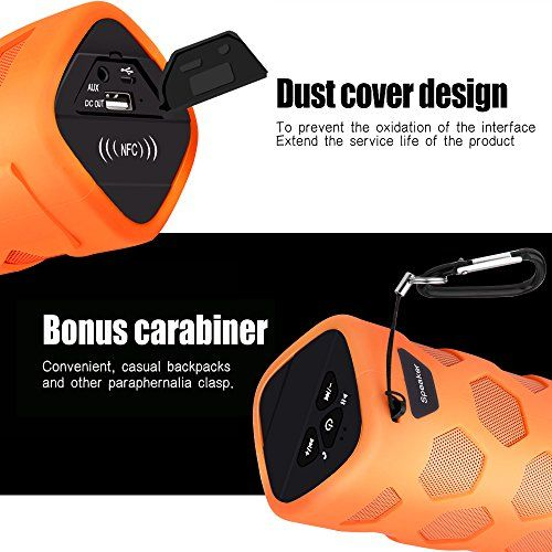 photo Wallpaper of ECANDY-LOBKIN Wasserdichter Bluetooth Lautsprecher   IP65 Zertifiziert   Staubdicht-Orange