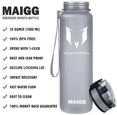 photo Wallpaper of MAIGG-MAIGG Best Sports Wasser Flasche Trinkflasche   32oz   Eco Friendly &-Grau
