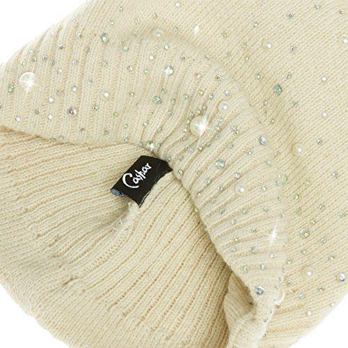 photo Wallpaper of CASPAR Fashion-CASPAR MU143 Damen Fein Strick Winter Mütze Mit Fellbommel, Farbe:beige;Größe:One Size-Beige
