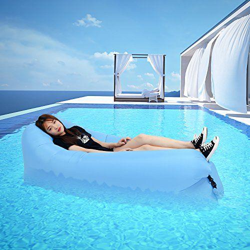 photo Wallpaper of DINPEI-DINPEI Aufblasbares Sofa, Wasserdichtes Aufblasbarer Liege Luft Sofa Mit Tragebeutel, Tragbarer Aufblasbare-Blau