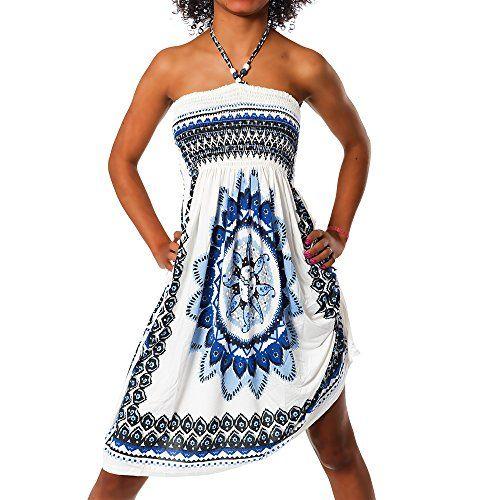 photo Wallpaper of Diva-Jeans-H112 Damen Sommer Aztec Bandeau Bunt Tuch Kleid Tuchkleid Strandkleid Neckholder, Farben:F-F-023 Blau