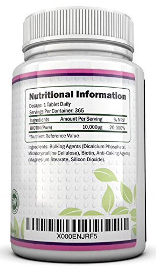 photo Wallpaper of Nu U Nutrition-Biotina 10.000 MCG   365 Comprimidos (Suministro Anual)   Complemento-