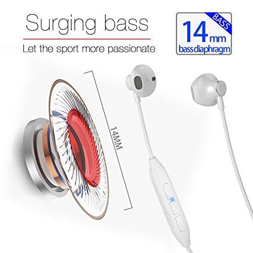 photo Wallpaper of Montech-Bluetooth Kopfhörer V4.1 In Ear Kopfhörer Bluetooth Stereo Headset Mit Magneten/Mic Wireless Ohrhörer Für-weiß