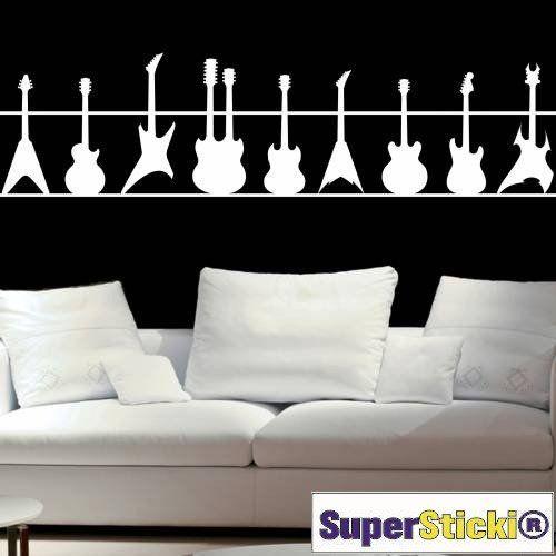 photo Wallpaper of SUPERSTICKI®-Gitarrenset 40x80 Wandtattoo Aufkleber Decal Von SUPERSTICKI® Aus Hochleistungsfolie Für Alle Glatten-