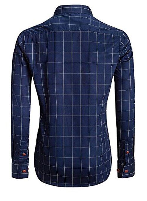 photo Wallpaper of Kuson-Kuson Herren Hemd Kariert Kentkragen Langarm Shirts Regular Fit Trachtenhemd Businesshemd Freizeithemd-Navyblau