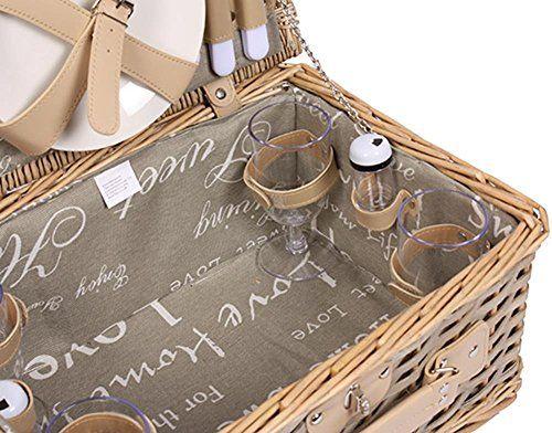 photo Wallpaper of Selltex-Picknickkorb Für 4 Personen Weidenkorb Mit Praktischem Inhalt Inklusive Teller Gläser-