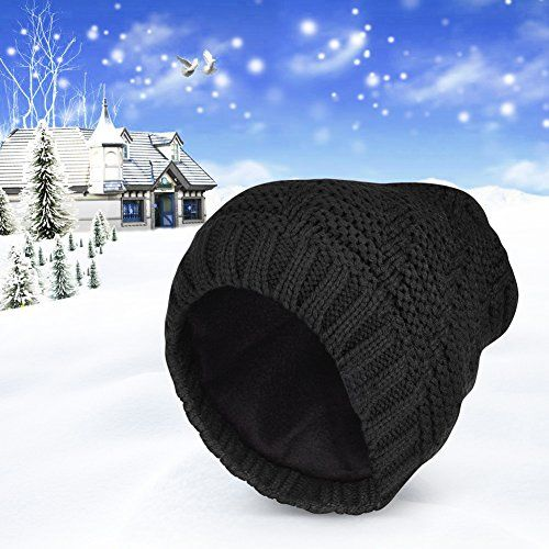photo Wallpaper of Vbiger-Vbiger Beanie Strickmütze Unisex Winter Wollmütze Mit Flecht Muster-Schwarz+