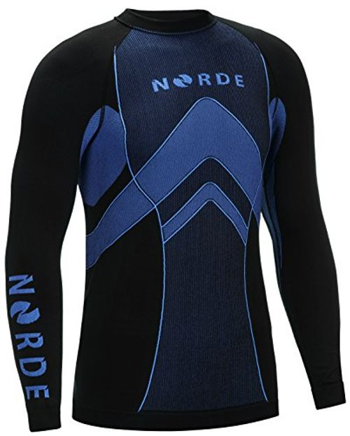 photo Wallpaper of Norde-THERMOTECH NORDE Herren Funktionswäsche Thermoaktiv Atmungsaktiv Base Layer SET Outdoor Radsport Running (Schwarz/Blau,-Schwarz/Blau