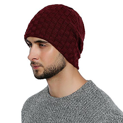 photo Wallpaper of DonDon-DonDon Herren Winter Long Beanie Mütze Teddyfleece Dunkelrot-Dunkelrot