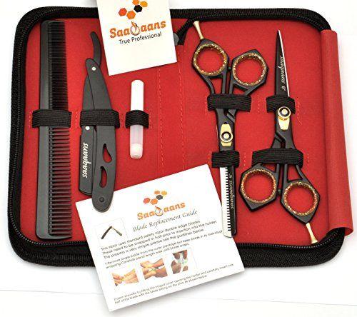 photo Wallpaper of Saaqaans-Saaqaans SQKIT Tijeras De Peluquería Barbero Profesional Conjunto   Acero Inoxidable De Alta-Black Scissors Set