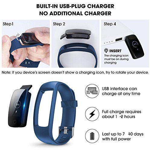 photo Wallpaper of Chianruey-Chianruey Fitness Armband Mit Herzfrequenz Fitness Tracker Pulsuhr Aktivitätstracker Mit Schlafüberwachung,Wasserdicht Bluetooth Fitness-Schwarz+Blau Ersatzband