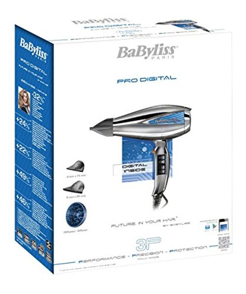 photo Wallpaper of BaByliss-BaByliss Pro Digital 6000E   Secador De Pelo Profesional, Motor Digital,-Gris Y Plata