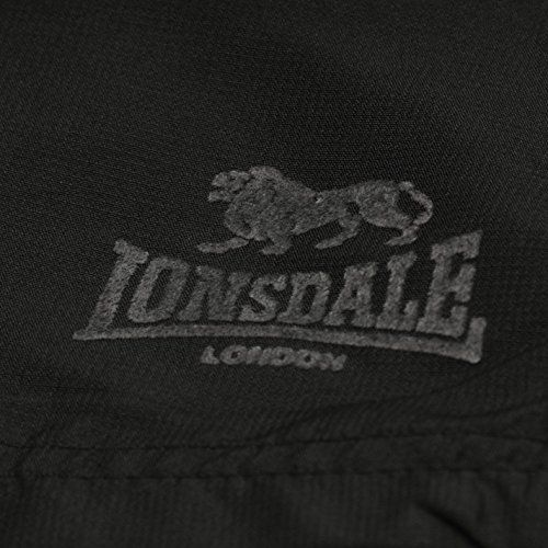 photo Wallpaper of Lonsdale-Lonsdale Two Stripe Woven Herren Shorts Sporthose Kurze Hose Elastische Bund-Black/Charcoal