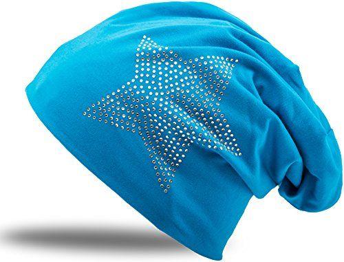 photo Wallpaper of Balinco-Jersey Baumwolle Elastisches Long Slouch Beanie Unisex Herren Damen Mit Strass Stern-Turquoise