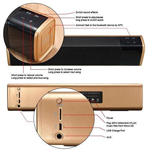 photo Wallpaper of ELEGIANT-Mobiler Lautsprecher, ELEGIANT 20W Bluetooth 4.1 Wireless Dual Lautsprecher Soundbar-Golden