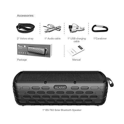 photo Wallpaper of ALAFAT-Bluetooth Lautsprecher Solar Außen Lautsprecher Dual Treiber HD Stereo SoundBox-Black