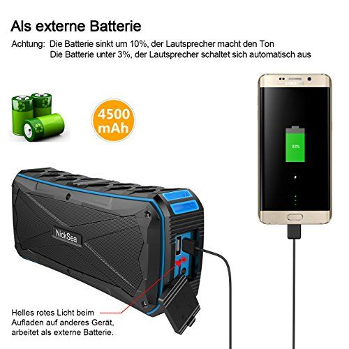 photo Wallpaper of Nicksea-Tragbarer Bluetooth Lautsprecher , Nicksea Portable Speaker Outdoor 16W IP6-blau