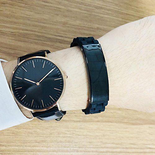photo Wallpaper of Vnox-Vnox Personalisierte Benutzerdefinierte Medical Alert Edelstahl ID Tag Schwarz Silikonkautschuk Einstellbar Armband Für Männer,Type-