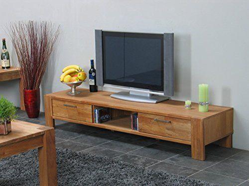 photo Wallpaper of Dynamic24-TV Board MARK Hifi Tisch Board Lowboard Phono Schrank Fernsehschrank Kommode Massiv Eiche-Braun