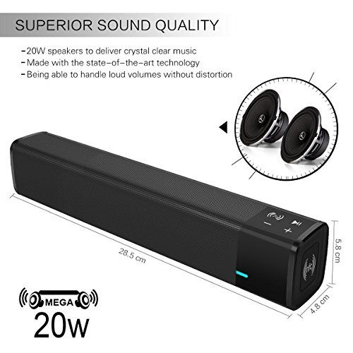 photo Wallpaper of ELEGIANT-Mobiler Lautsprecher, ELEGIANT 20W Bluetooth 4.1 Wireless Dual Lautsprecher Soundbar HIFI Subwoofer-Schwarz