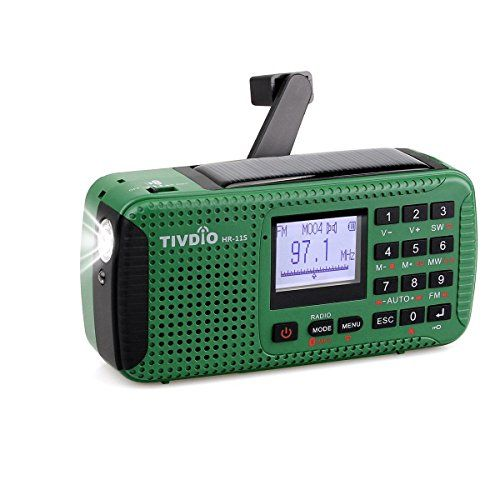 photo Wallpaper of Tivdio-Tivdio HR 11S Tragbares Radio Dynamo Kurbel Notfall AM FM Kurzwellenlaut-Grün(sw)