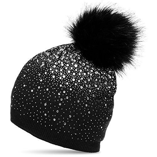photo Wallpaper of CASPAR Fashion-CASPAR MU188 Damen Fein Strick Glitzer Strass Winter Mütze Mit Fellbommel,-Schwarz