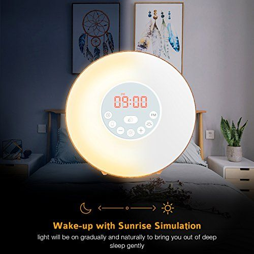 photo Wallpaper of COULAX-COULAX Wake Up Light, Despertador Luz Amanecer Función De Dormitar, 6 Sonidos-Grano de Madera
