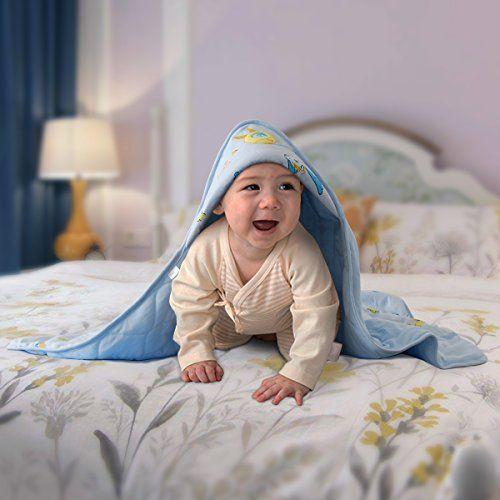 photo Wallpaper of Herenear-Lujosa Toalla De Baño Para Bebé Con Capucha / Toalla Delantal-Azul