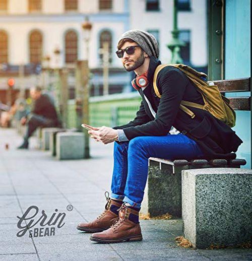photo Wallpaper of Grin&Bear-Grin&Bear Long Slouch Beanie Grobstrick Teddyfleece SetB M10-2er B Set schwarz/braun
