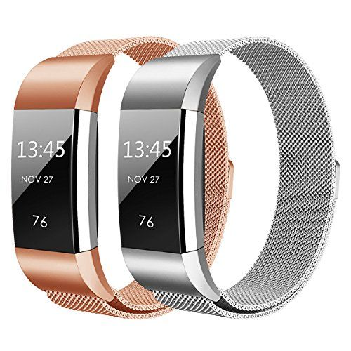 photo Wallpaper of Hanlesi-Hanlesi Fitbit Charge 2 Armband, Edelstahl Armbanduhren Watch Band Fitness Für Fitbit-silber + roségold