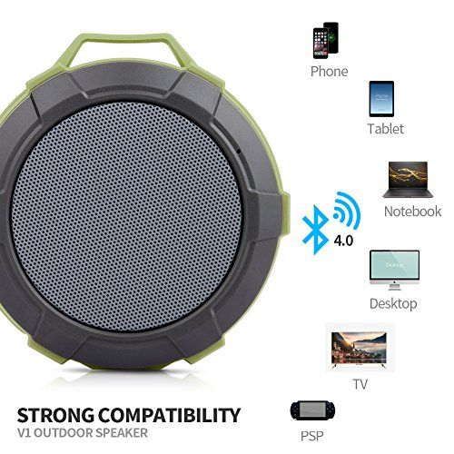 photo Wallpaper of Hcman-Bluetooth Lautsprecher Tragbar Dusche Lautsprecher,Hcman Wasserdicht Outdoor Speaker Mit Eingebautem Mikrofon-Green
