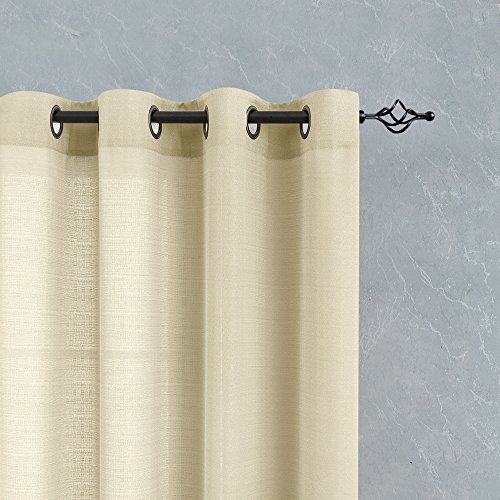 photo Wallpaper of TOPICK-TOPICK Sheer Vorhang Mit Ösen Transparent Gardine 2 Stücke Gaze Paarig Fensterschal-Beige