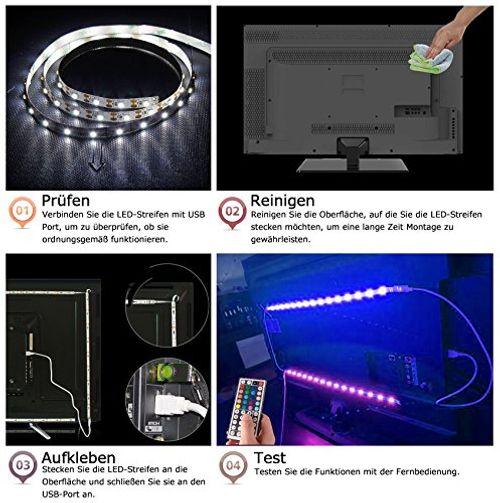 photo Wallpaper of Tobbiheim-Tobbiheim LED TV Hintergrundbeleuchtung, Fernseher Leiste Einfach Installation 2 Meter 40cm*2+60cm*2-Silber